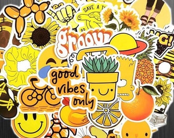 Groovy Yellow Sticker Set - Cute Funny Retro Pop Art Sticker Pack