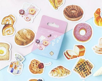 Breakfast Food Paper Sticker Box Set - 45 Stickers - Donuts Waffles Breads Pastries Croissants Eggs and Toast