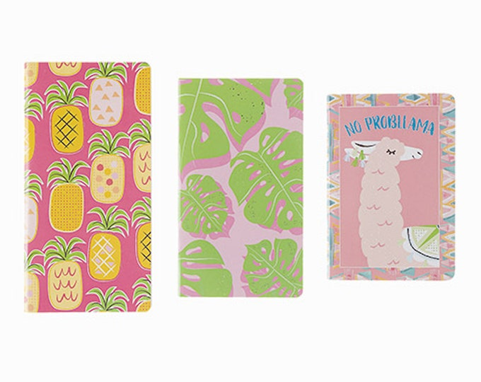 No Probllama 3pc Notebook Set - Cute Llama Pocket Journal - Tropical Summer Mini Notebooks