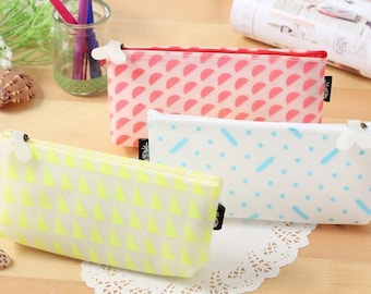 Fluorescent Jelly Pencil Case - Bright Neon Silicone Case for School Work or Makeup