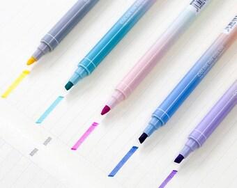 Dual Tip 2-in-1 Marker Pen - Two Tone Felt Highlighter Marker Pen for School, Work or Art