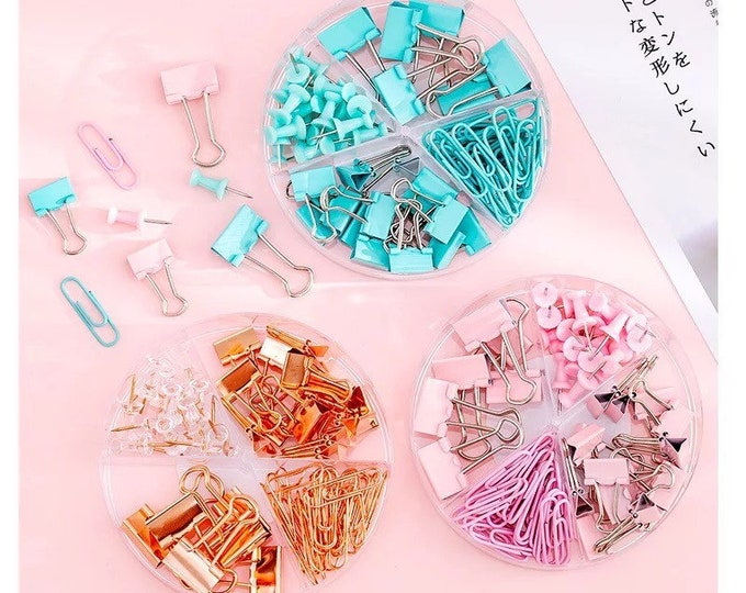 72pc Colorful Clip & Pushpin Set - Metal Binders Clips + Thumbtacks + Paperclips - Rose Gold / Pink / Blue