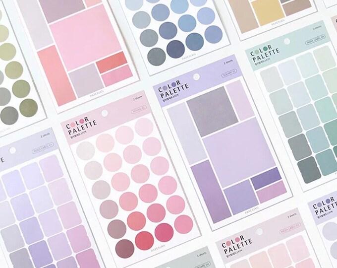 Color Palette Sticker Sheets - 76pc Gradient Color Stickers Set