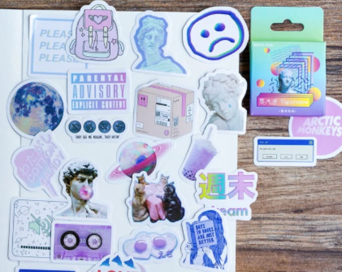Featured listing image: Vaporwave Mini Stickers - 45 Pieces Box Set - Cute Unique Pastel Retro Future Pastel Space Moon Galaxy Kawaii Neon Computer Sticker Set