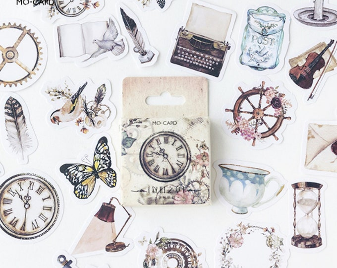 Past Times Paper Sticker Box Set - 45pcs - Vintage Pocket Watch, Hourglass, Violin, Feather, Teacup, Typewriter, Candle