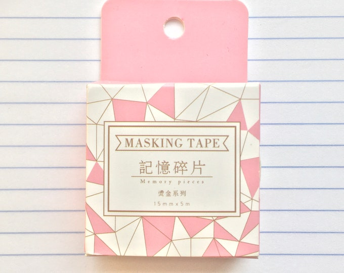 Sheer Pink Washi Tapes - Pink & Gold Foil Paper Tape - Geometric Dots Honeycomb Palms and Flowers