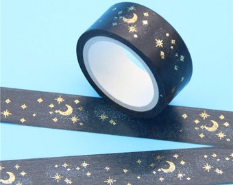 By Moonlight Washi Tape - Black and Gold Paper Tape - 1.5 cm x 5 m