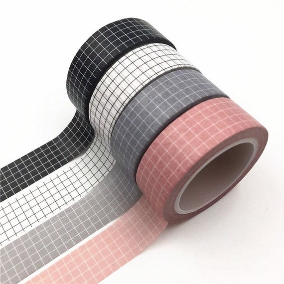 Classic Grid Washi Tape - 1.5 cm - Choose from 12+ Colors