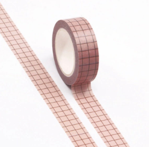 Pink & Black Grid Washi Tape - 15mmx10m