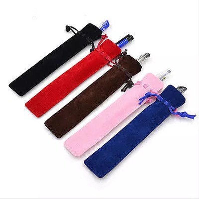 Velvet Soft Drawstring Case Choose Black Pink Red Brown and Blue Felt Gift Bag for Pens