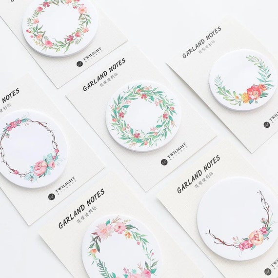 Flower Garland Sticky Notes - Choose from 6 designs - Spring Floral Stationery