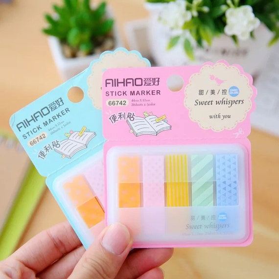5pc Sticky Page Markers - Bookmark or Note Tabs for School or Work