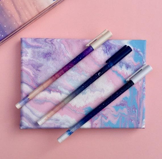 Starry Night Pens, Winter Pen Set, Moon & Stars Pen, Galaxy Pen, Novelty Pens, Frozen Pens, Stocking Stuffers, Unique Pens, Ombre Pen