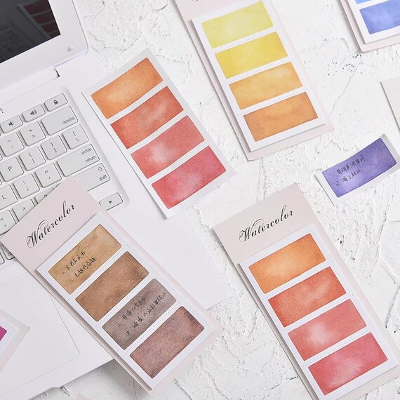 Paint Palette Sticky Note Sets - Red Pink Blue Green Coffee Brown Indigo Purple Yellow Orange - Colorful Memo Pad