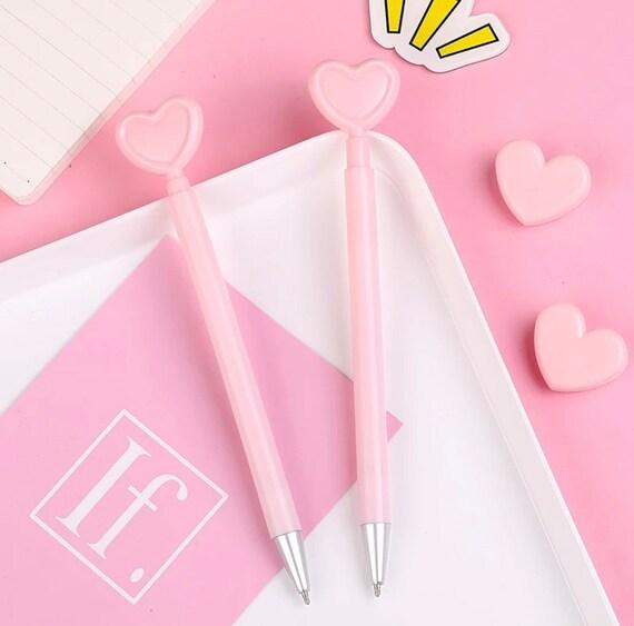 Pink Heart Retractable Gel Ink Pen