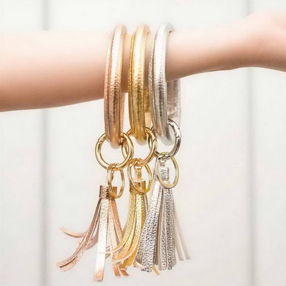 Vegan Leather Bangle Keychain - Rose Gold, Silver, Green, Yellow, Leopard Print, Pink