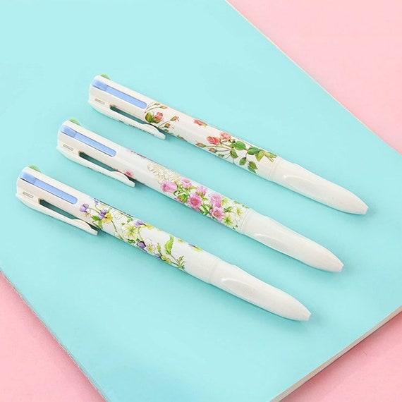Floral Multi Color Ballpoint Pen - 4-in-1 Writing Pen - 0.5mm Four Colors Ink Pens