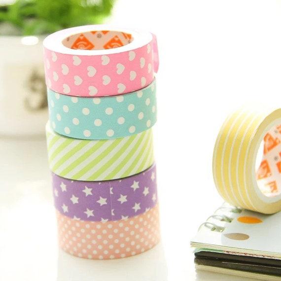 Colorful Pattern Washi Tape - Stars Hearts Dots Stripes - Blue Pink Yellow Green Purple Rose - 1.5cm Medium Width