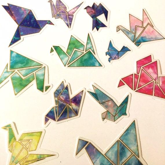 60pc Paper Crane Sticker Pack - Gold Foil Marble Geo Paper Stickers