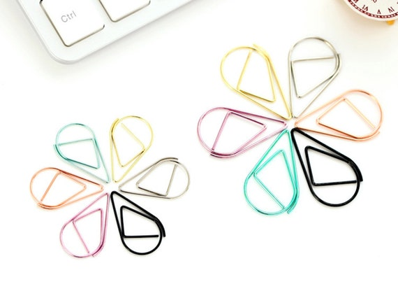 10pcs Teardrop Paper Clips - Large or Small - Rose Gold, Yellow Gold, Black or Purple