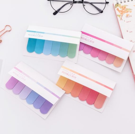 Rainbow Gradient Page Markers - Colorful Ombre Effect Sticky Note Tabs