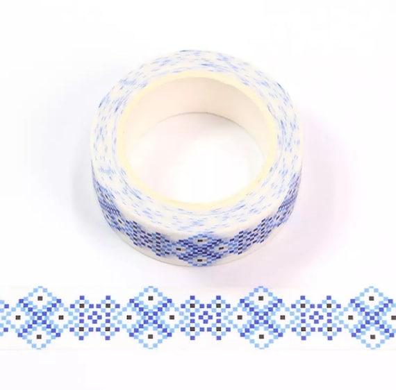 Blue Mosaic Tile Washi Tape - 1.5cm