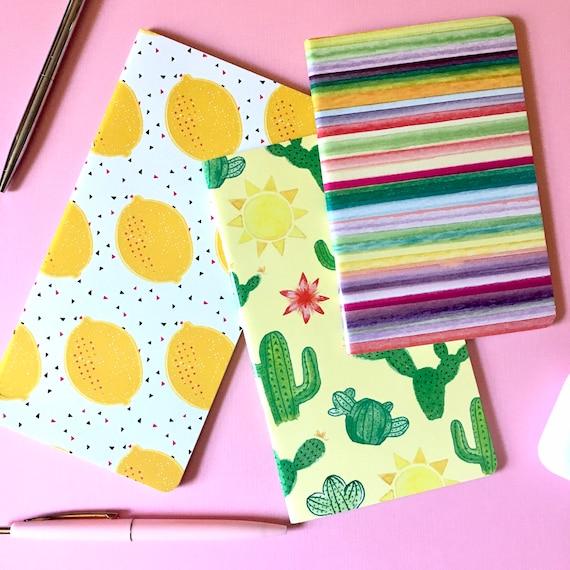 3pc Limonata Notebook Set - Lemon / Cactus / Serape Stripe - Blank Pages