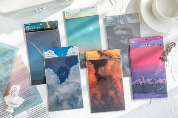 Fantasy Ephemera Deco Papers - 15pcs Sulfuric Acid Paper Notes for Scrapbooks Bullet Journals and Stationery
