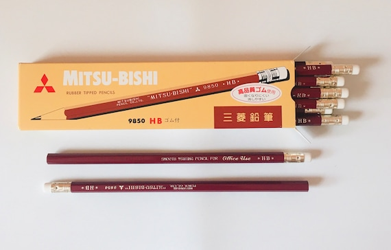 Mitsubishi 9850 Pencils - HB - Red & White Rubber Tipped Pencils - Smooth Writing Pencil for Office Use