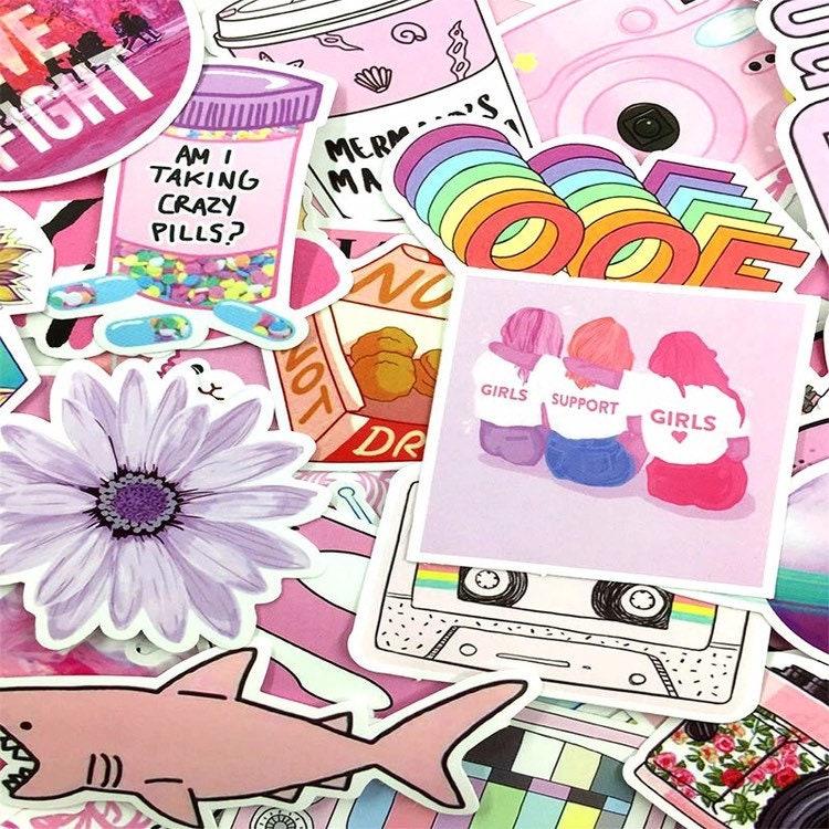 Super Pink Sticker Set - Girly Pink Retro 90s Aesthetic ...