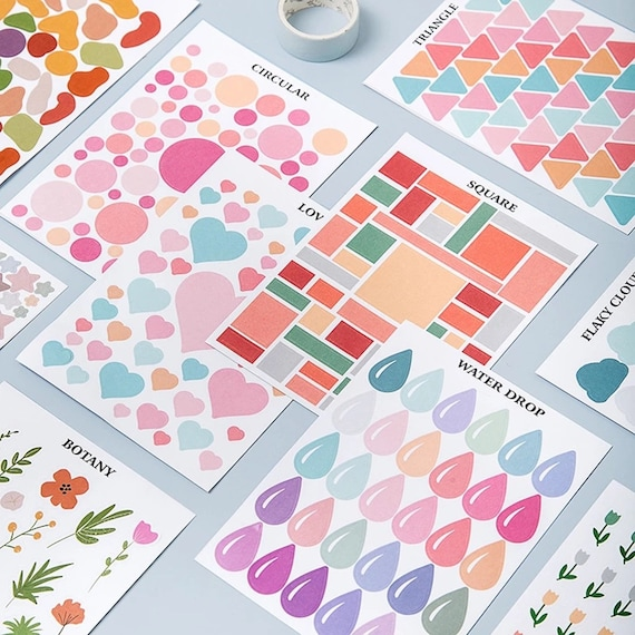 Color & Shape Sticker Sets - Choose from Heart, Triangle, Abstract, Square, Raindrop, Circle, Cloud, Plant