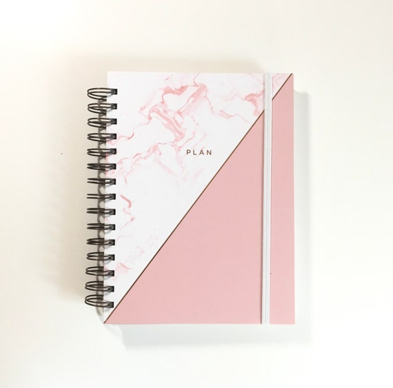 Pink Marble Undated Planner by Hadron Epoch