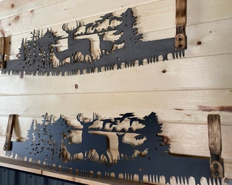 Wildlife Scene Cross Cut Saw with Hand Widdled Handles - Cross Cut Saw Wall Hanging - Cabin, Rustic Decor - Gift For Him - Father's Day Gift
