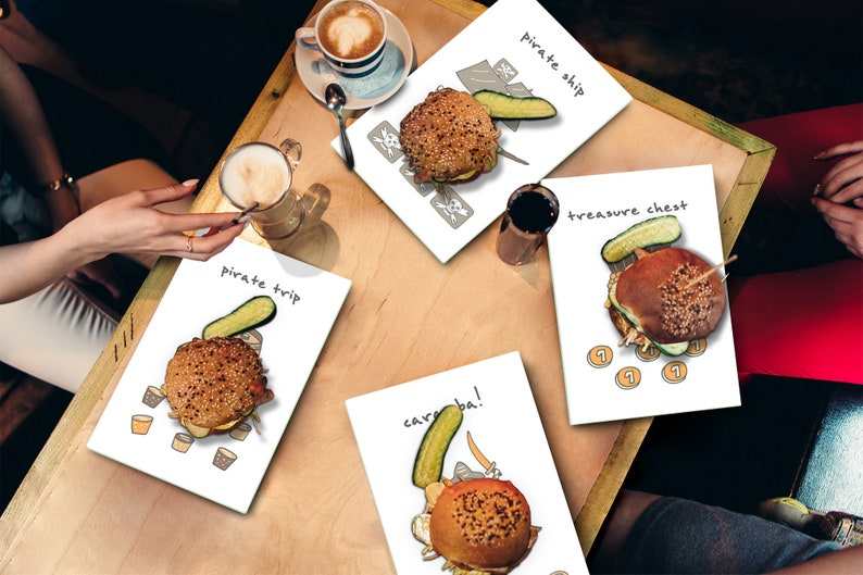 Hand drawn doodles Set of 4 Cutting Boards