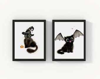 Halloween Witch Cat and Bat Cat Printable Wall Art Set of 2, Watercolor Printable Cat Art, Cat Lover Gift, Printable Home Decor