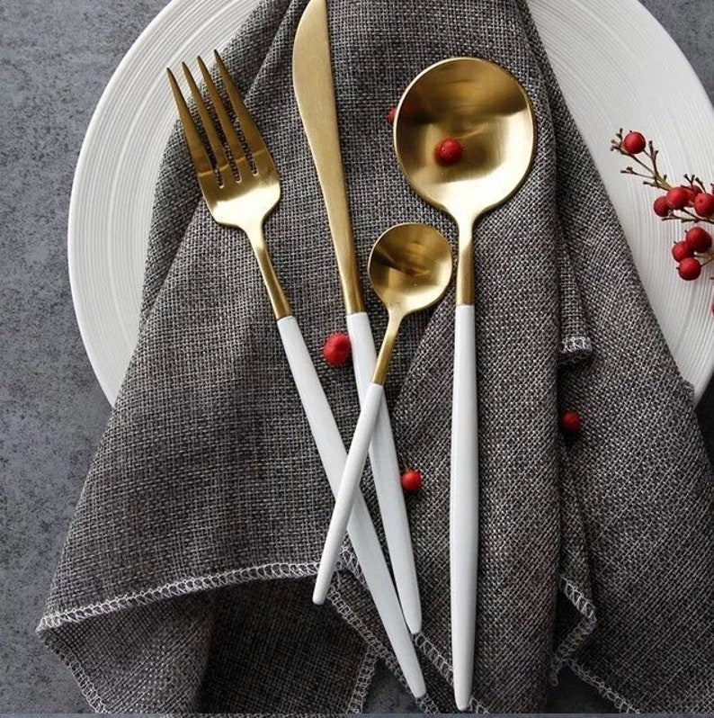4 pcs Gold and White / Black / Rose Gold Cutlery Dinnerware image 0