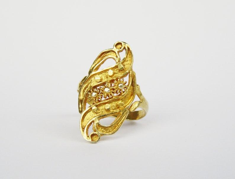 Sunflower Art Deco Engagement Gold Ring Women Vintage Ring  3a4d7c6abdad