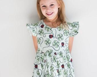 454a15dea43 Four Leaf Clover and Ladybug Flutter Dress