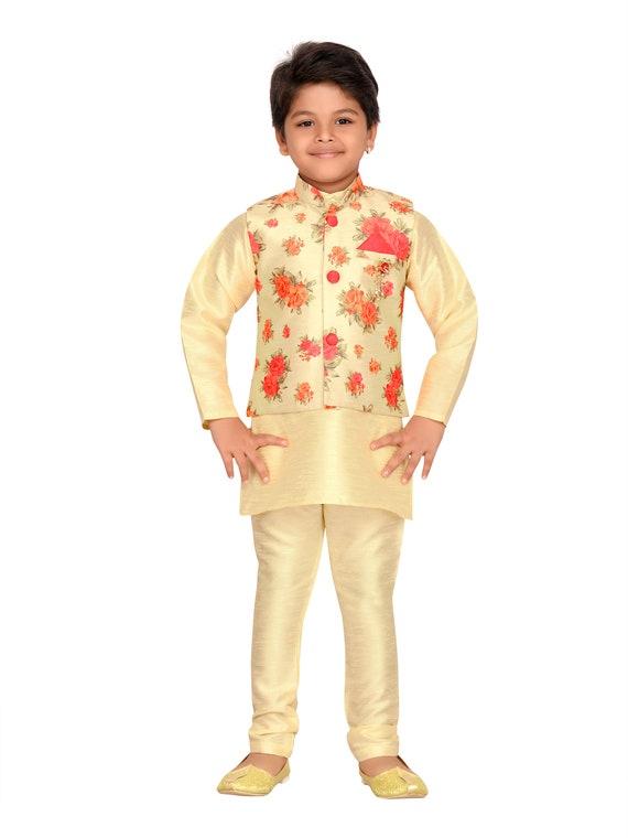 Jungen Indisch Bollywood Party Wear Mandarinkragen Kurta Pyjama Kinder 933