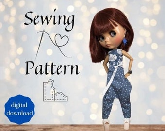 INSTANT DOWNLOAD PDF - Blythe doll sewing pattern - Overall - A4 version