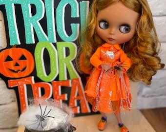 Blythe doll Halloween outfit set orange spider