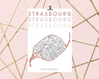 Strasbourg mon Amour - A4/A3 - Poster - Decoration - Illustration