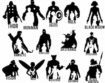 Avengers Svg, Clipart Set, Marvel SVG file, Iron Man, Avengers Silhouette, Avengers Cricut, Avengers Silhouette, Superhero Svg, Cut File