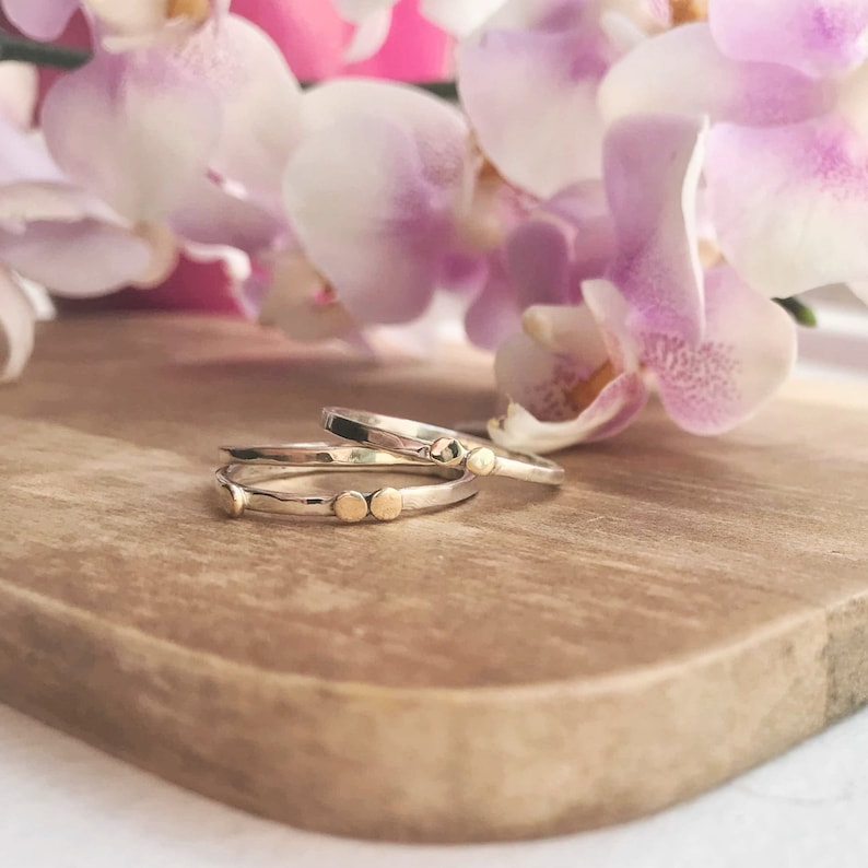 Unusual stack of rings 9ct gold ring Set of three rings Stackable ring-Solid gold ring-Gift for her Silver and gold ring Ring with dots