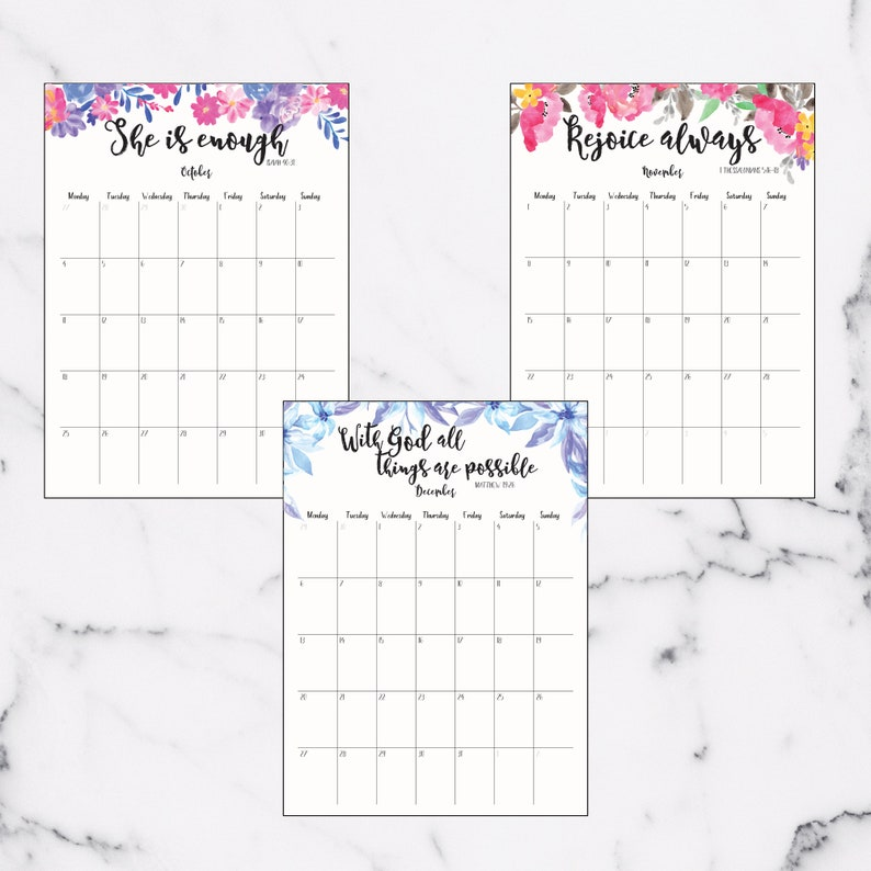 2021 Calendar With Bible Verses PRINTABLE Monthly Floral ...