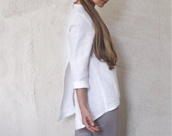 9aa919a56c4f55 100% Linen Top, buttons on back. Stone washed, long or 3/4 sleeves. Women  eco clothing, Linen clothing women