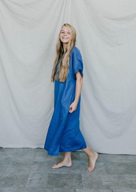 100% Linen Dress, Summer Dress, Back Button, Handmade, Oversized Linen Dress. Long linen clothing. Women linen eco clothing, Australia