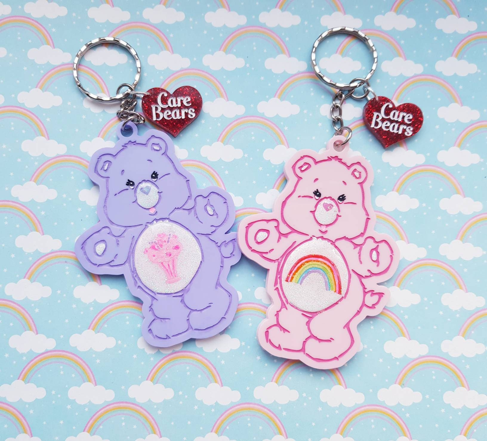 Upcycled Care Bear Checkers Game Piece Keychains