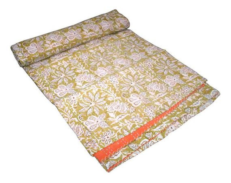 New Indian Hand Block Print Kantha Bed Cover Kantha Quilt Handmade Bedspread Kantha throw Jaipuri Print Bed Cover