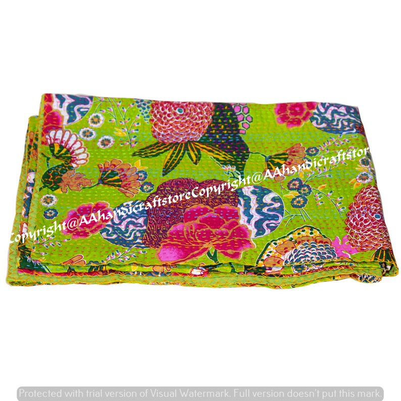 Indian Traditional Hand Stitched Floral Twin Size Kantha Quilt Reversible Blanket Bedspread Quilt Coverlet Bedcover Bohemian Muslin Voile
